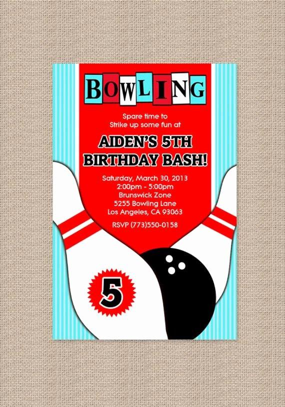 Printable Bowling Party Invitations Fresh Bowling Birthday Party Invitation Bowling Invitation by Honeyprint
