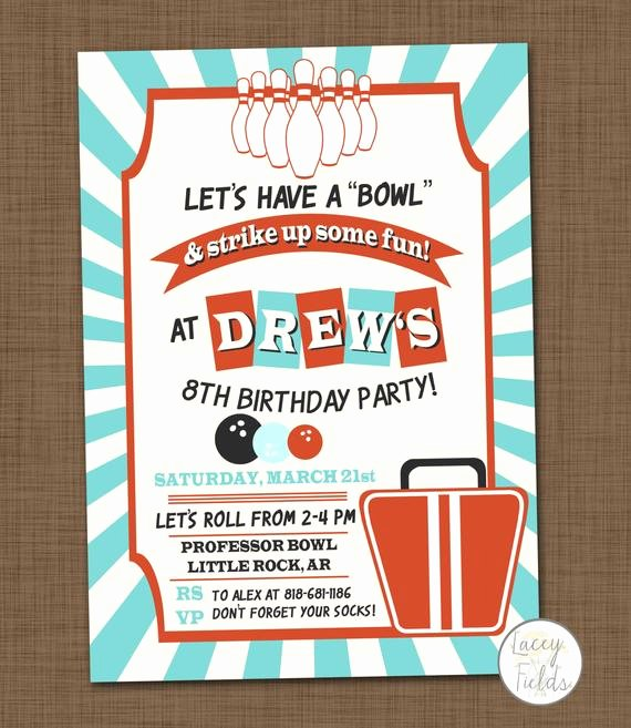 Printable Bowling Party Invitations Inspirational Bowling Birthday Party Invitation Printable Bowling Invitation