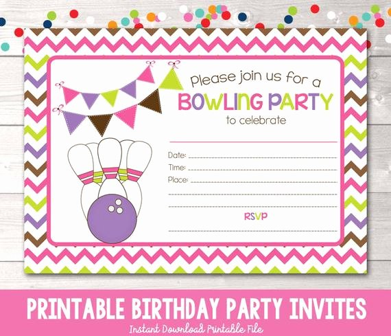 Printable Bowling Party Invitations Inspirational Printable Girls Bowling Party Invitation Fill In the Blank