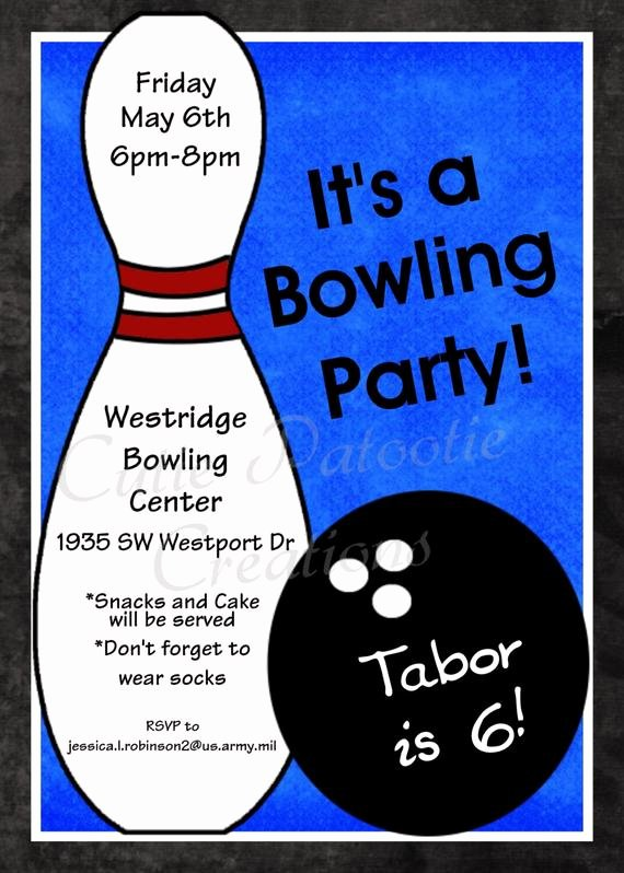 Printable Bowling Party Invitations Lovely Bowling Birthday Invitation Printable or Printed Party Invite