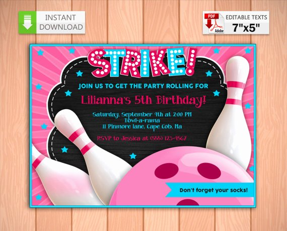 Printable Bowling Party Invitations Lovely Printable Invitation Bowling Party Pink In Pdf with Editable