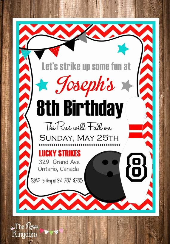 Printable Bowling Party Invitations Luxury Printable Bowling Invitations Bowling Party by thepaperkingdom