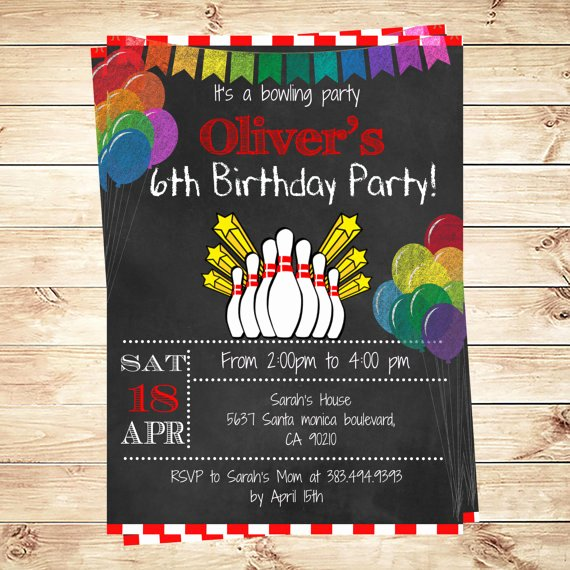 Printable Bowling Party Invitations New Printable Bowling Birthday Party Invitation Boy Bowling