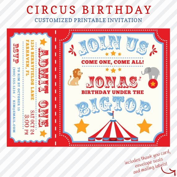 Printable Carnival Birthday Invitations Beautiful Circus Birthday Invitation Printable Custom Invitation with Free Thank You Card Mailing