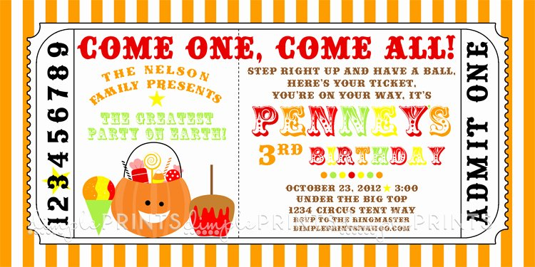 Printable Carnival Birthday Invitations Beautiful Fall Carnival Printable Ticket Invite Dimple Prints Shop