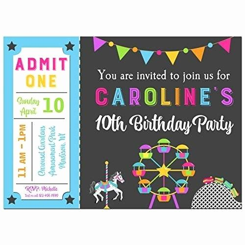 Printable Carnival Birthday Invitations Best Of Amazon Amusement Park Invitations with Any Wording Printed or Printable Carnival