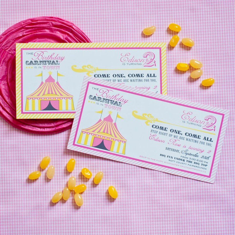 Printable Carnival Birthday Invitations Best Of Vintage Carnival Circus Birthday Party Printable Invitation Pink Yellow