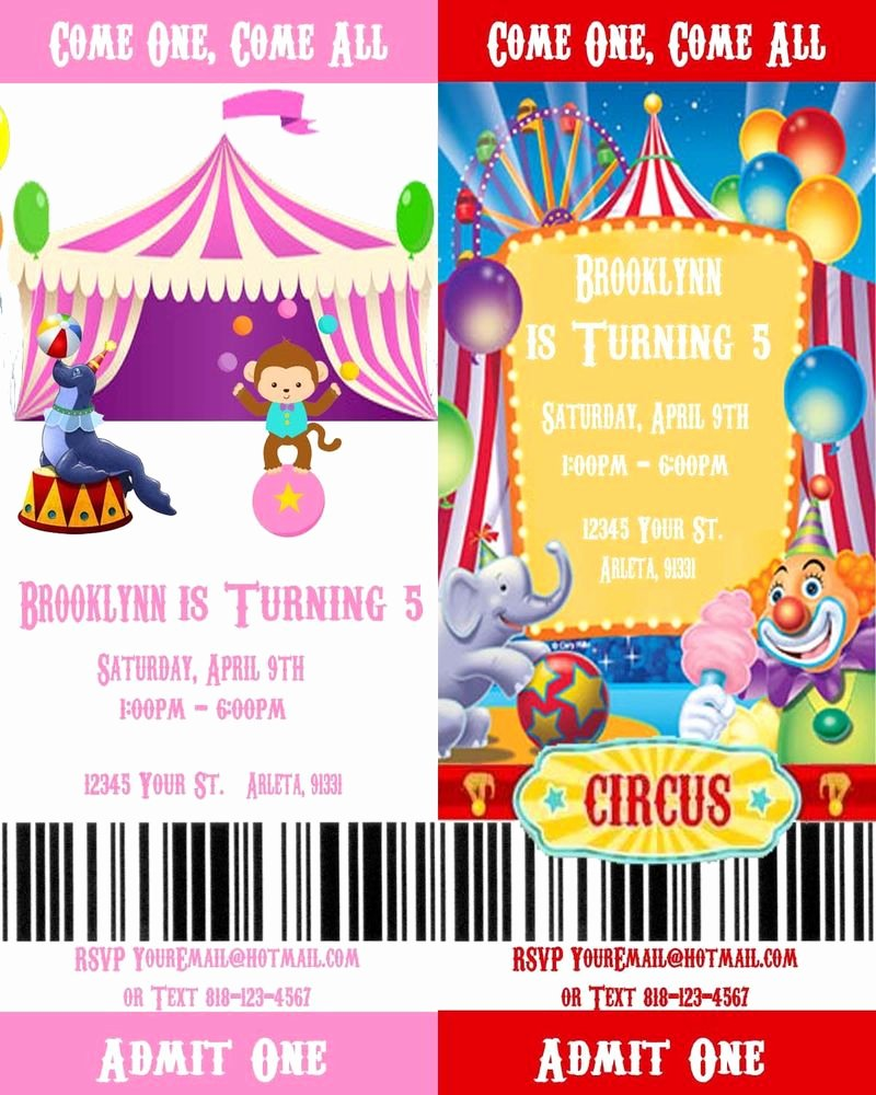 Printable Carnival Birthday Invitations Elegant Circus Carnival Printable Movie Ticket Style Birthday Party Invitations