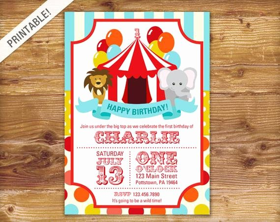 Printable Carnival Birthday Invitations Fresh First Birthday Carnival Invite Circus Invitation Carnival