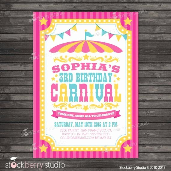 Printable Carnival Birthday Invitations Lovely Carnival Birthday Invitation Printable Circus Birthday Party