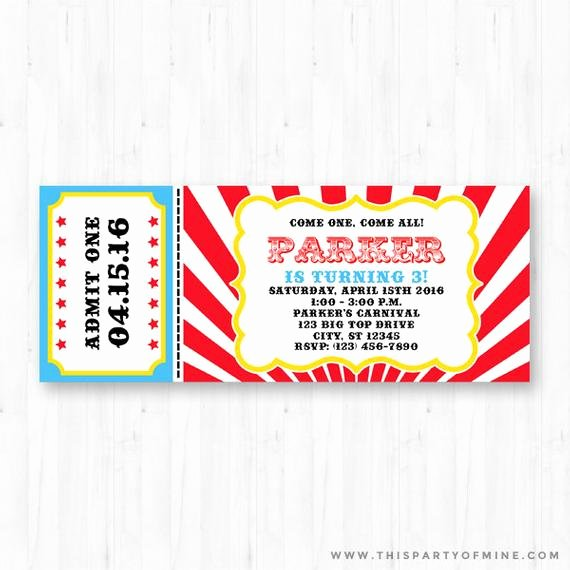 Printable Carnival Birthday Invitations New Carnival Invitation Printable Circus Birthday by Thispartyofmine
