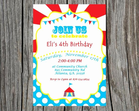 Printable Carnival Birthday Invitations Unique Custom Printable Circus Birthday Invitation Carnival Invite