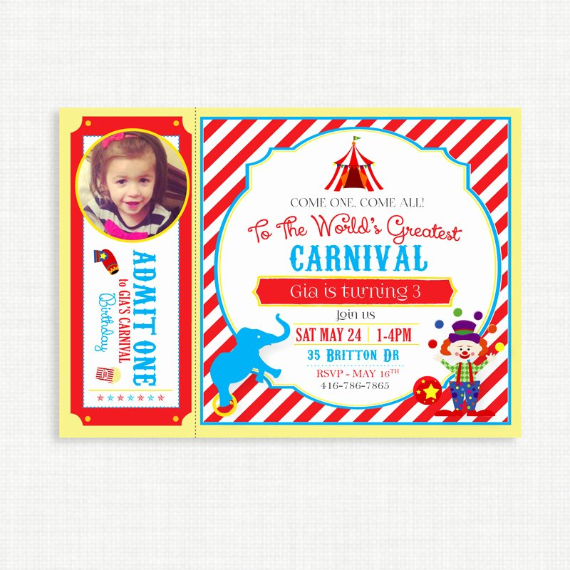 Printable Carnival Birthday Invitations Unique Printable Birthday Invitation Carnival Birthday Invitation