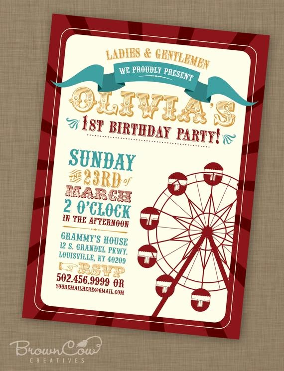 Printable Carnival Birthday Invitations Unique Printable Vintage Carnival Birthday Party by Browncowcreatives