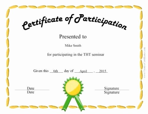 Printable Certificates Of Participation Awesome Free Certificate Of Participation