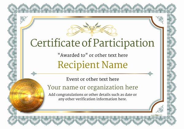 Printable Certificates Of Participation Beautiful Participation Certificate Templates Free Printable Add Badges & Medals