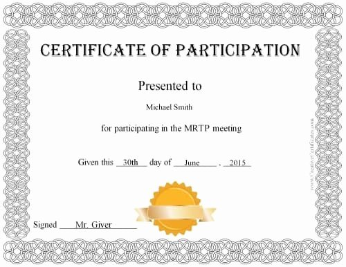 Printable Certificates Of Participation Best Of Free Certificate Of Participation