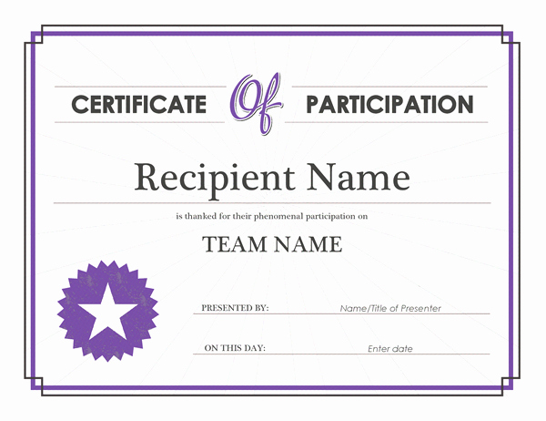 Printable Certificates Of Participation Best Of Printable Participation Templates