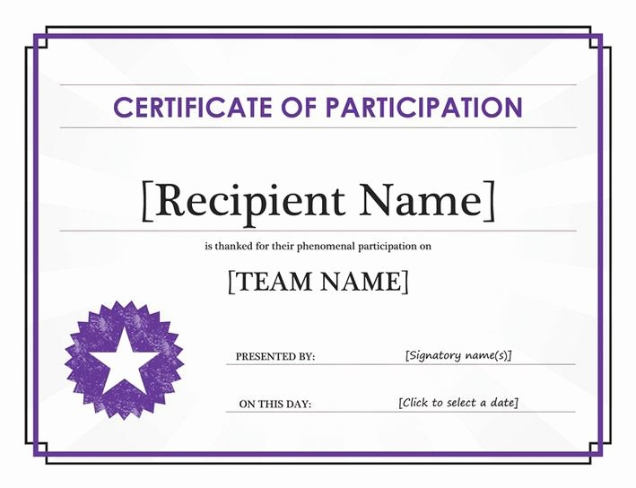Printable Certificates Of Participation Elegant Certificate Of Participation