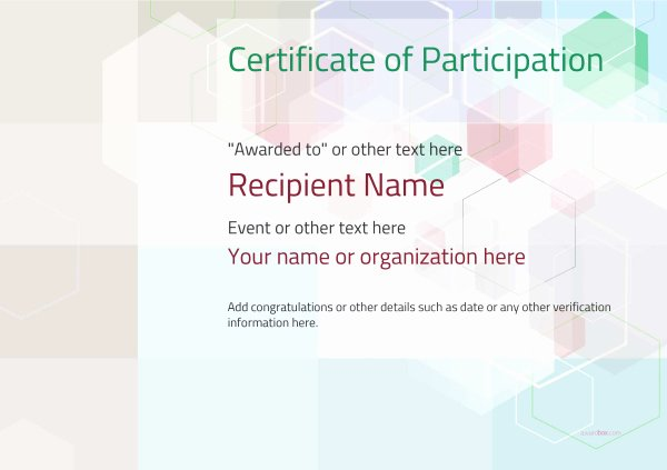 Printable Certificates Of Participation Elegant Participation Certificate Templates Free Printable Add Badges & Medals