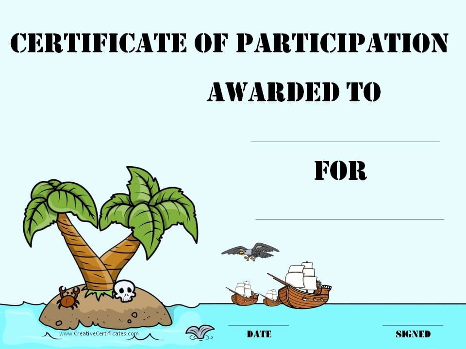 Printable Certificates Of Participation Fresh Free Printable Pirate Certificates for Kids