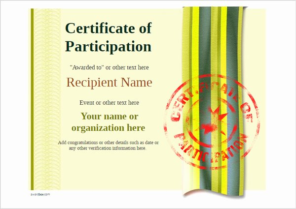 Printable Certificates Of Participation Inspirational Participation Certificate Templates Free Printable Add Badges & Medals