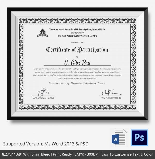 Printable Certificates Of Participation New Certificate Templates Participation Certificate Template New Calendar Template Site