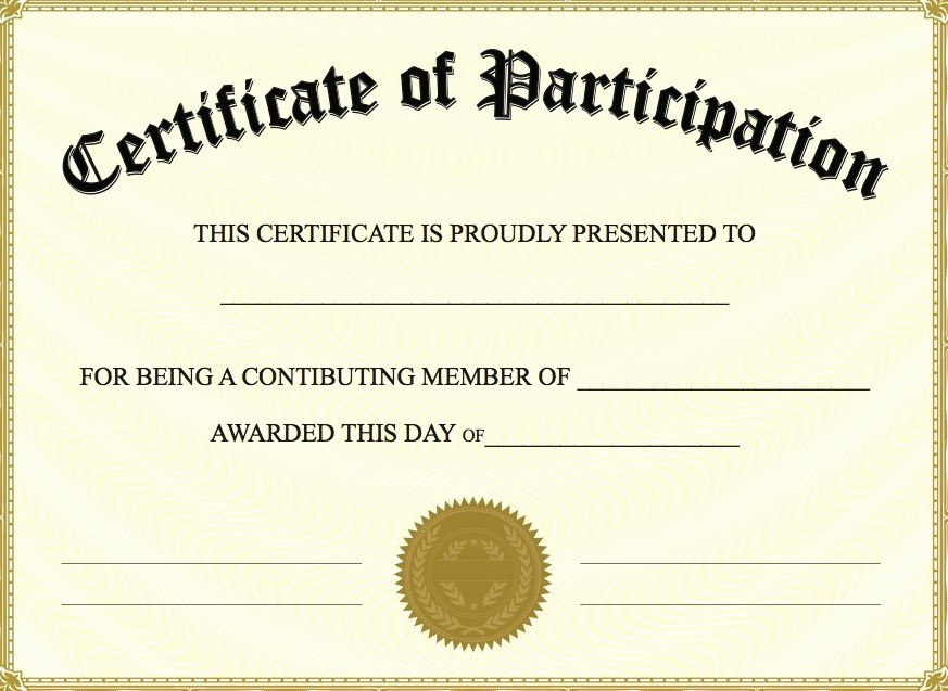 Printable Certificates Of Participation New Printable Participation Templates