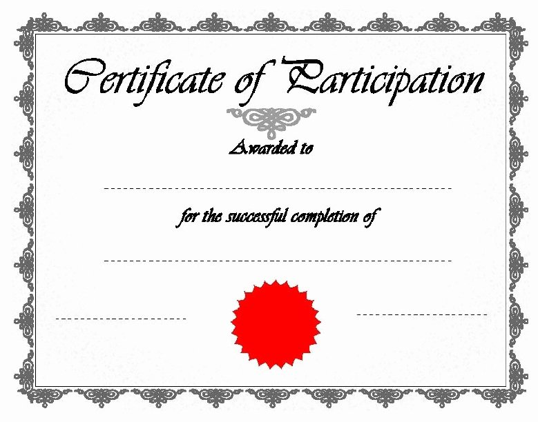 Printable Certificates Of Participation Unique 11 Free Sample Participation Certificate Templates Printable Samples