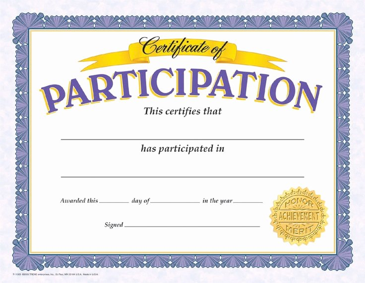 Printable Certificates Of Participation Unique Participation Certificate English Volunteering Project Pinterest
