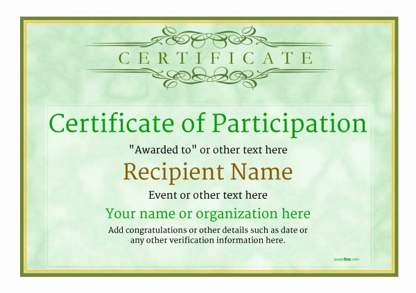 Printable Certificates Of Participation Unique Participation Certificate Templates Free Printable Add Badges & Medals