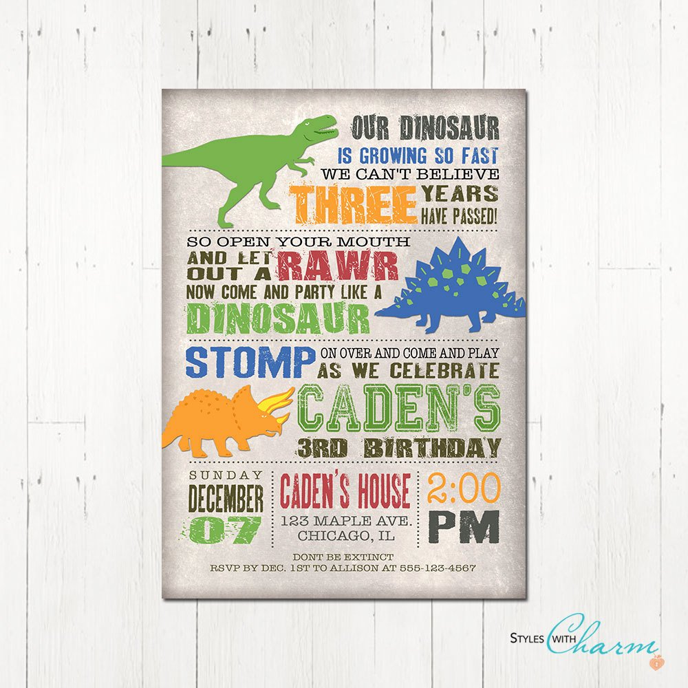 Printable Dinosaur Birthday Invitations Awesome Kitchen & Dining