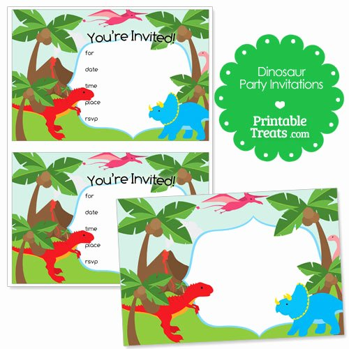 Printable Dinosaur Birthday Invitations Beautiful Printable Dinosaur Party Invitations — Printable Treats