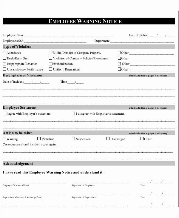 Printable Employee Warning form Beautiful Employee Warning Notice