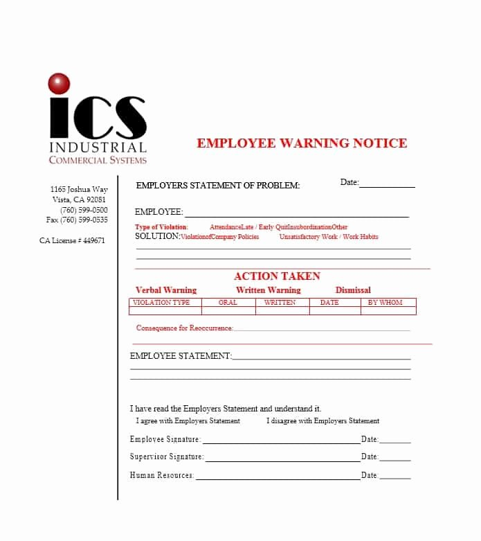 Printable Employee Warning form Best Of Employee Warning Notice Download 56 Free Templates & forms