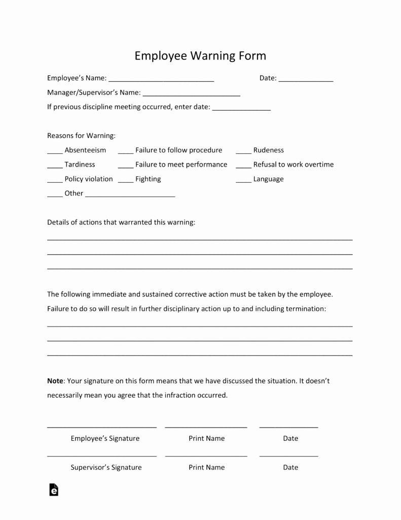 Printable Employee Warning form Best Of Free Employee Warning Notice Template Pdf Word
