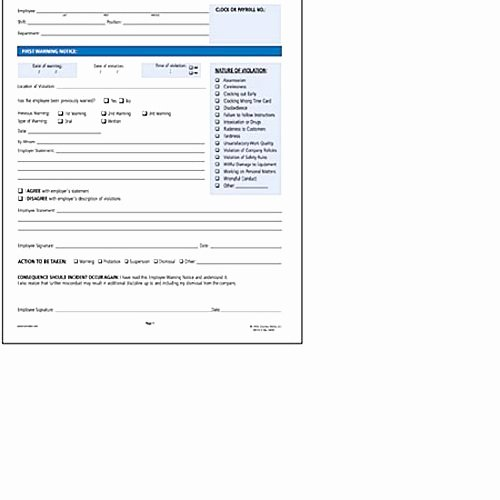 Printable Employee Warning form Best Of socrates Employee Warning Notice form somhr114 Shoplet