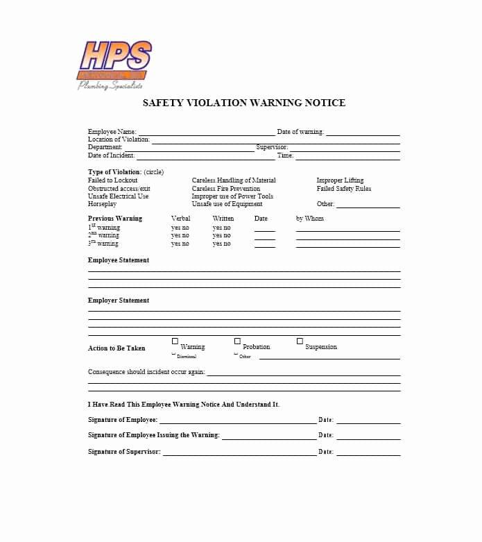 Printable Employee Warning form Fresh Employee Warning Notice Download 56 Free Templates & forms