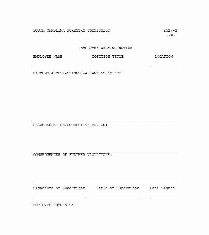 Printable Employee Warning form Inspirational Employee Warning Notice Download 56 Free Templates & forms