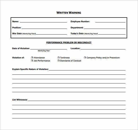 Printable Employee Warning form New 11 Written Warning Templates Pdf