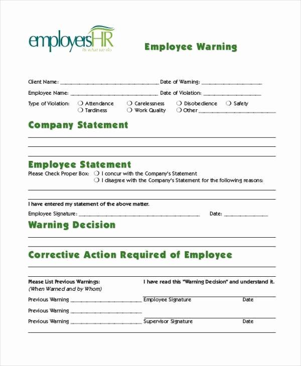 Printable Employee Warning form New Free 9 Sample Employee Warning forms In Pdf