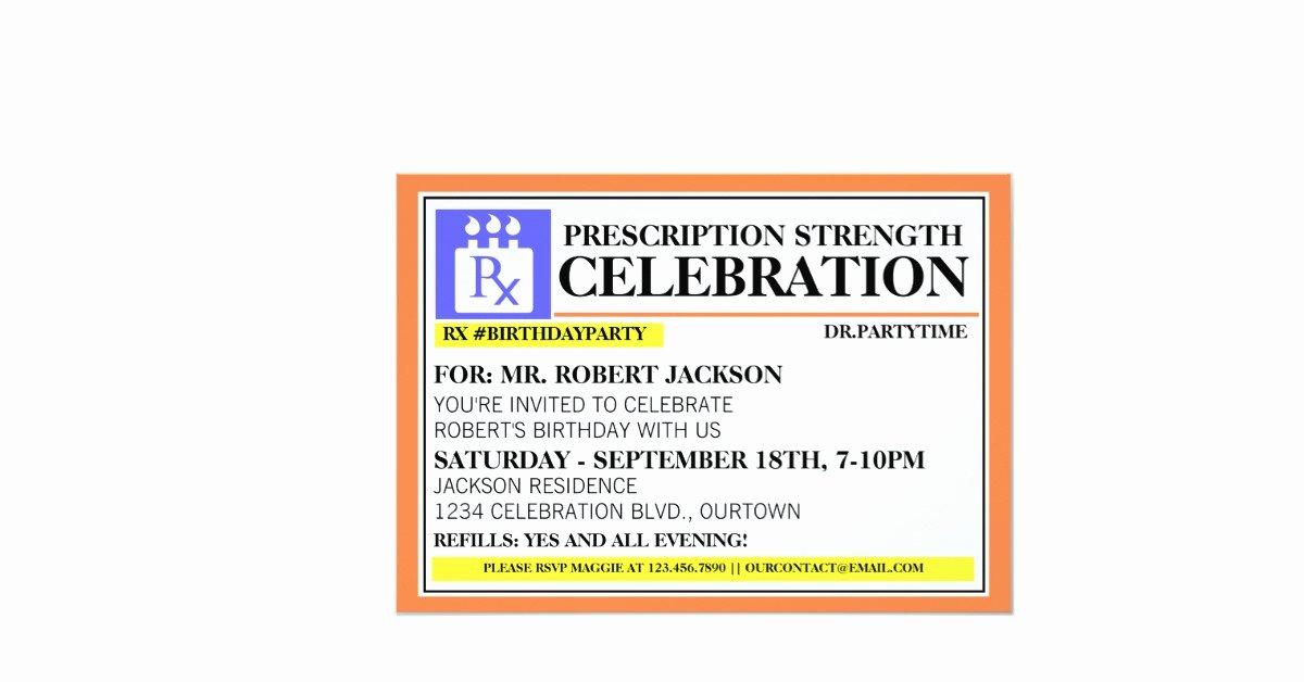 Printable Fake Prescription Labels New Funny Prescription Label Party Invitations