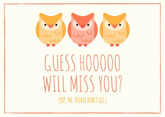 Printable Going Away Card Unique Owl themed Going Away Card Templates by Canva