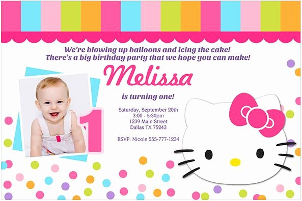 Printable Hello Kitty Invitations Elegant Download now Free Template Hello Kitty 1st Birthday Invitations Bagvania Invitation