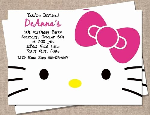 Printable Hello Kitty Invitations Elegant Hello Kitty Birthday Invitation Hello Kitty Birthday Party