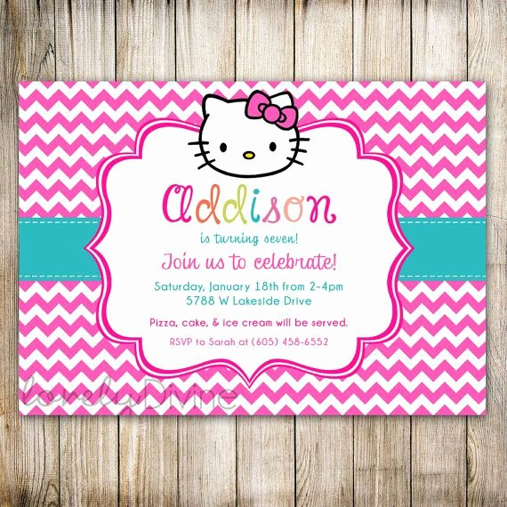 Printable Hello Kitty Invitations Elegant Hello Kitty Chevron Birthday Invitation 1st Birthday Invitation 2nd Birthday Invitation 3rd