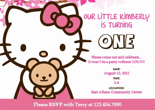 Printable Hello Kitty Invitations Fresh Personalized Hello Kitty Birthday Invitations Updated Free Invitation Templates Drevio