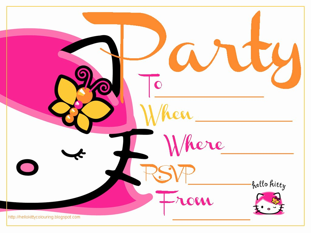 Printable Hello Kitty Invitations New Hello Kitty Coloring Pages