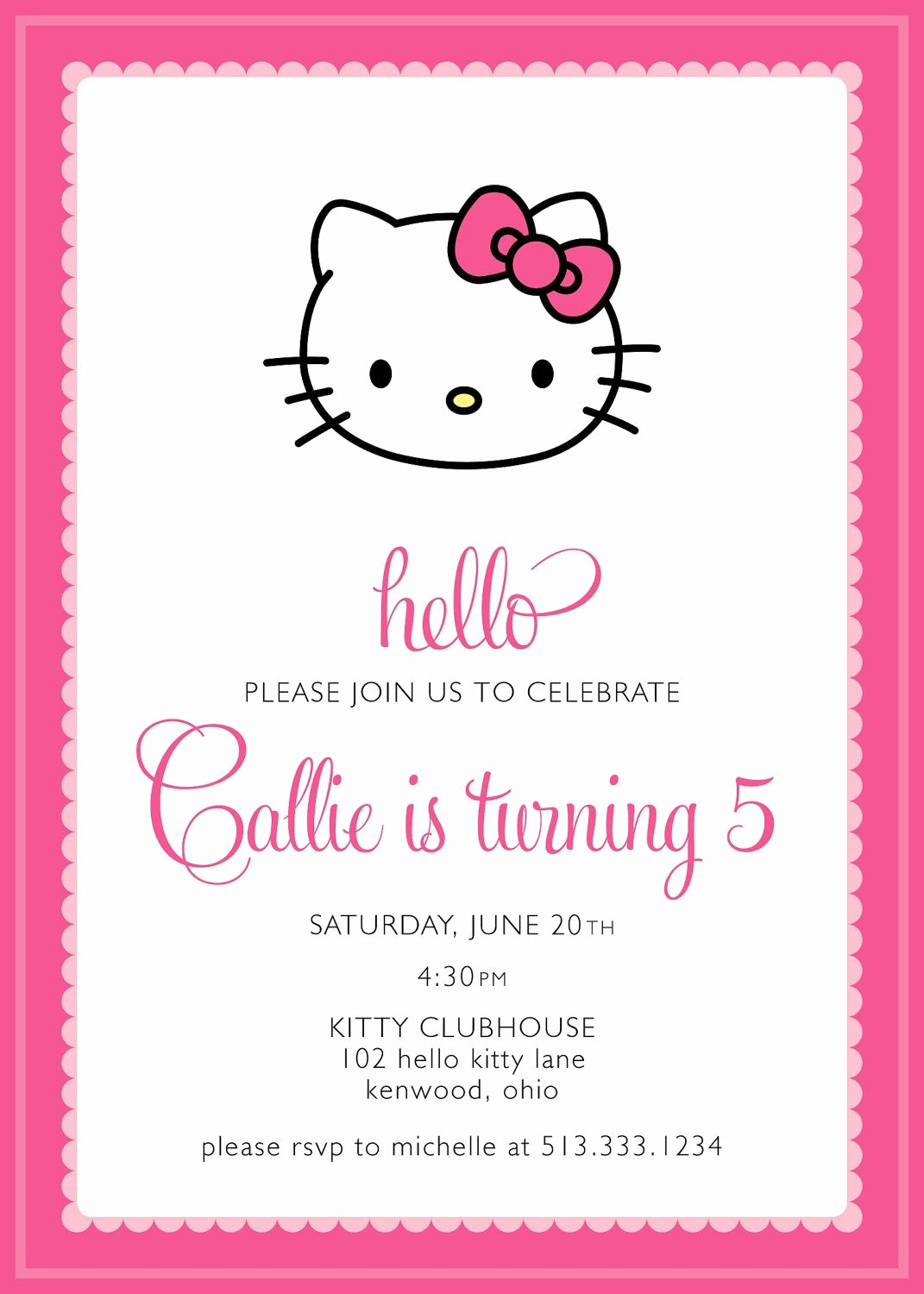 Printable Hello Kitty Invitations Unique Hello Kitty Party Invitation Custom $15 00 Via Etsy Alivias Birthday Ideas
