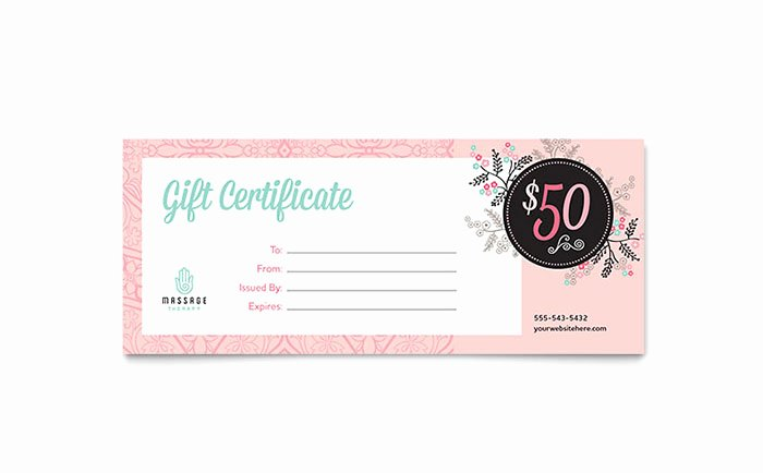 Printable Massage Gift Certificates Beautiful Massage Gift Certificate Template Design